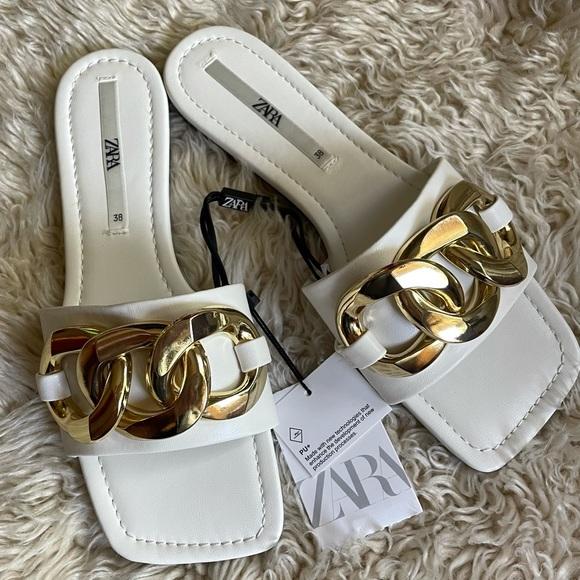 Zara white chain trim sandals 7.5